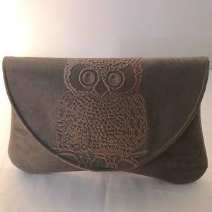 Anthropologie Shiraleah Tan Silk Owl Clutch Bag